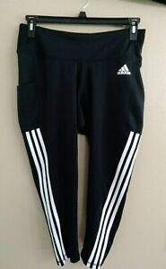 Adidas Women's Aeroready 3 Stripe Active Size 1X Tight Pants Leggings Crop z13