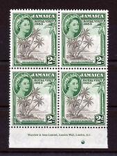 JAMAICA 1953 ROYAL VISIT IMPRINT BLOCK OF 4 MNH