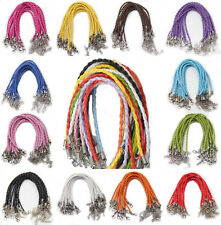 Lots 20/100Pcs Faux Leather Cord Braid Rope Lobster Clasp Bracelets Finding DIY