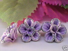 LAVENDER POLYCLAY FLOWER BEADS, 15x6mm, 4 pcs