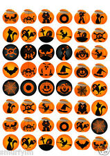 HALLOWEEN PARTY 48 Cup Cake Toppers Ricer Paper DiY DecorationS BLACK & ORANGE