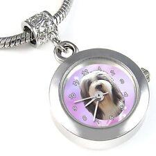 Bearded Collie / Beardie Silver Quartz Watch European Bracelet Charm Bead EBA119