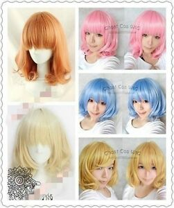 Promotion! New Medium FIVE color Mix Curly Cosplay BOB Wavy Wig wg@00