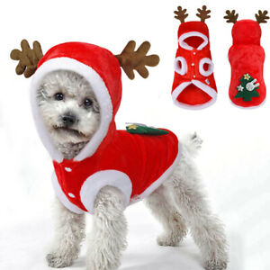 Christmas Pet Clothes Small Dogs Cats Santa Costume Puppy Outfit Hoodie Jacket