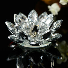7 Colors Crystal Glass Lotus Flower Candle Tea Light Holder Candlestick Decor