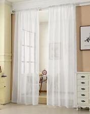 2x Gardine Kräuselband transparent Leinenoptik Dekoschal 140x245 Weiß VH5859ws-2