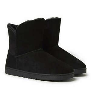 Dearfoams Black Suede Foldover Bootie Indoor/Outdoor Slippers - Women's 9