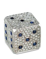 4.47ct DIAMOND BLUE SAPPHIRE AND 14K SOLID WHITE GOLD EXCLUSIVE DIAMOND DICE