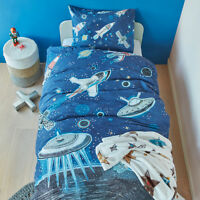 Space Blue Bedding House 100% Cotton SINGLE Size Quilt Doona Cover Set