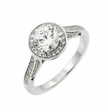 Sterling Silver Wedding Ring Center Stone Clear CZ Micro Pave STR00934-7