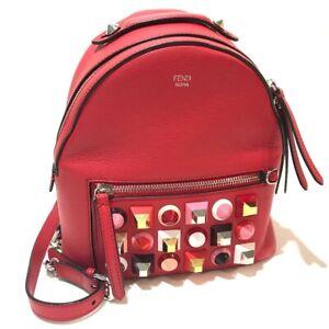 FENDI 8BZ038 Valentine limited color studs Mini Backpack-Bag Leather Red