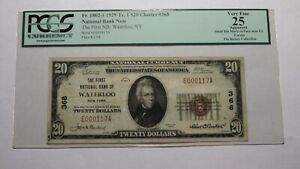 $20 1929 Waterloo New York NY National Currency Bank Note Bill Ch #368 VF25 PCGS