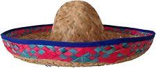 Blue Trim Mexican Straw Sombrero Spanish Hat Fiesta Fancy Dress Party Costume