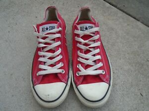 Mens Converse red canvas low sneakers sz 9