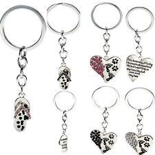 Rhinestone Heart With Paw Print Dog Pet Lover Keychain Keyring Key Chain Pendant