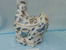 Vintage OLD Laying Hen / Chicken w/ Birds, Butterflies Cookie Jar VGC CJ0016
