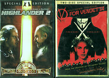 V for Vendetta and Highlander 2 Special Edition, 4 Disc action movie selection
