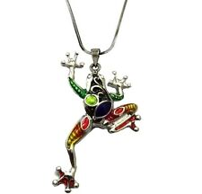 """Enameled Gift Boxed Fast Shipping Multicolor Frog Pendant Necklace 21"""" Chain"""