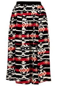 Topshop Ikat Splice Midi Skirt Size Uk 8 BNWT