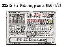 Eduard 1/32 P-51D Mustang data placards for Hasegawa kit # 32515