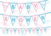 Unicorn Baby Shower Gender Reveal White Baby Blue Pink Bunting Banner 12 flags