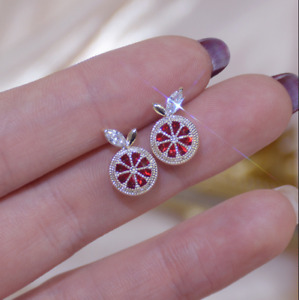 1.50Ct Pear Cut Red Ruby Twisted Stud Earring's 14K White Gold Finish