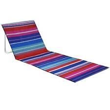 More details for stripe pink blue portable folding beach lounger mat outdoor garden camping chair
