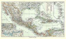 Alte, historische Landkarte 1909: Mittelamerika Mexiko Antillen Amerika (Mkl7)