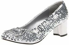 Dorothy Silver Slippers Sequins Pumps Disco Shoes Adult Women's Costumes Size 6