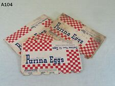 VINTAGE PURINA DOZEN EGG CARTON LOT SET OLD ADVERTISING CHECKERBOARD RALSTON OLD