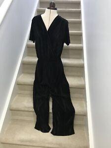 Jumpsuit Sportsgirl Black Ribbed Silky Fabric Elegant Elastic Waist Like New L