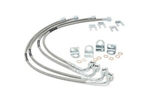 """Front & Rear SS Braided Brake Lines for 07-18 Jeep JK Wrangler 4""""-6"""" Lift 89716"""