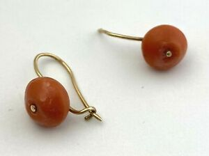 Vintage Red Coral Earrings with 14K Yellow Gold Kidney Wire, Needs Repair