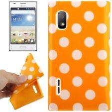 Funda de TPU para LG e610 Optimus l5 en orange con puntos blancos funda protectora para móvil