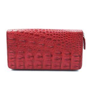New Real  Red Back Bone Crocodile Leather Skin Silver Zipper Clutch Women Wallet