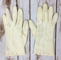 Vintage 1960s Wear Right Gloves Ivory Floral Eyelet Edging Made in Germany 7 1/2