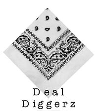 Paisley Bandana Bandanna Headwear/Hair Band Scarf Neck Wrist Wrap Band WHITE