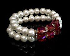 Beautiful 2 Row White Pearl Stretch Bracelet made w/ Swarovski Crystal Red Stone