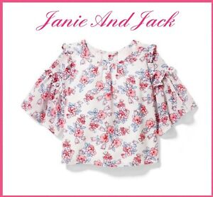 Janie And Jack Girls Ruffle Sleeve Top