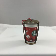 Starbucks Christmas Ornament Red Cup To Go Dog Boy Sled 2011