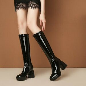 Classic Lady Square Toe Patent Leather Square Heel Over The Knee High Heel Boots