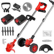 More details for 88v electric cordless strimmer grass trimmer garden edger 2x batteries 1200w