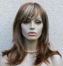 Perücke kastanie rotblond mittelbraun goldbraun blond gesträhnt lang 13FH16