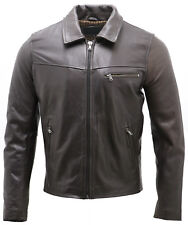 Men's Smart Dark Brown Leather Harrington Jacket