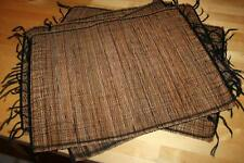 lot 5 Bamboo Placemats Brown tied woven placemat Asian Rectangular