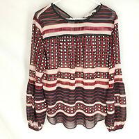 ANN TAYLOR LOFT Blouse Size Medium Sheer Stripe Black Red Womens Long Sleeve