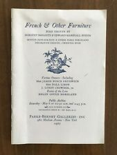 FRENCH & OTHER FURNITURE May 6 1967 Parke Bernet Auction Catalog Birds Prices