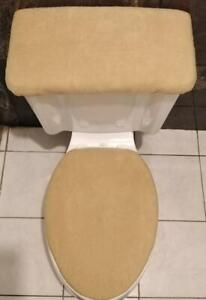SOLID  CAMEL FLEECE Fabric - Elongated Toilet Seat Cover Set