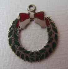 Vintage Sterling Silver & Enamel Christmas Wreath Charm