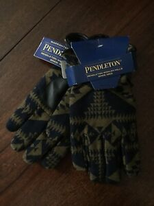 Pendleton Blue & Tan Indian Southwest Graphic Wool Leather Ranch Gloves XL